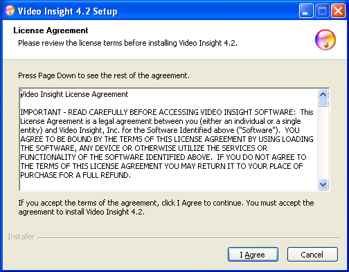 Video Insight Setup Window License Agreement